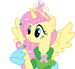 Size: 1024x932 | Tagged: alicorn, artist:artisticflounder, clothes, crown, dead source, dress, fluttercorn, fluttershy, pony, race swap, safe, simple background, solo, transparent background, vector