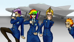 Size: 1251x709 | Tagged: safe, artist:asdf314159265, gilda, lightning dust, rainbow dash, spitfire, air force, battle tendency, clothes, humanized, jet, jet fighter, jojo pose, jojo's bizarre adventure, military, pantyhose, pilot dash, plane, pose, skirt, thick eyebrows, undercut, uniform, vento aureo