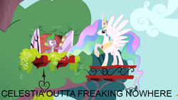 Size: 640x360 | Tagged: alicorn, duo, edit, edited screencap, feeling pinkie keen, golden oaks library, image macro, letter, out of fucking nowhere, pony, princess celestia, safe, screencap, spike, surprised, window