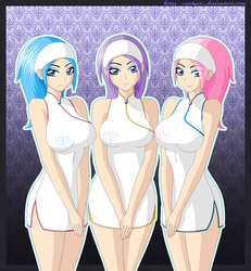 Size: 1850x2000 | Tagged: safe, artist:zantyarz, aloe, lotus blossom, vera, human, bedroom eyes, breasts, clothes, cute, eye clipping through hair, female, humanized, looking at you, smiling, spa twins, trio