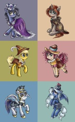 Size: 3105x5000 | Tagged: safe, artist:pponyoo, chancellor puddinghead, clover the clever, commander hurricane, princess platinum, private pansy, smart cookie, earth pony, pegasus, pony, unicorn, absurd resolution, cape, clothes, crown, female, founders of equestria, hat, helmet, hood, interpretation, jewelry, mare, regalia, ruff (clothing)