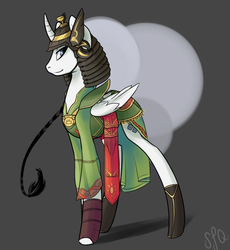 Size: 895x973 | Tagged: safe, artist:pon-ee, oc, oc only, alicorn, pony, alicorn oc, helmet, samurai, soldier, solo
