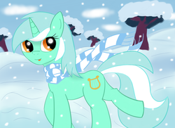 Size: 5500x4000 | Tagged: dead source, safe, artist:breezethepony, lyra heartstrings, pony, unicorn, absurd resolution, clothes, scarf, smiling, snow, snowfall, solo, tongue out, winter
