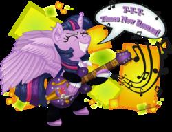 Size: 2348x1802 | Tagged: safe, artist:gray--day, twilight sparkle, alicorn, pony, bipedal, female, guitar, mare, my sharona, solo, the knack, twilight sparkle (alicorn)