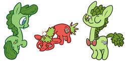 Size: 727x354 | Tagged: safe, artist:hamigaki-momo, archibald, bob the tomato, larry the cucumber, ponified, veggietales