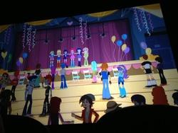 Size: 3264x2448   Tagged: safe, applejack, aqua blossom, crimson napalm, curly winds, fluttershy, heath burns, indigo wreath, normal norman, pinkie pie, rainbow dash, rarity, rose heart, scott green, some blue guy, sophisticata, teddy t. touchdown, twilight sparkle, valhallen, equestria girls, equestria girls (movie), background human, balloon, humane five, time to come together