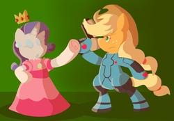 Size: 792x552 | Tagged: safe, artist:pembroke, applejack, rarity, pony, applesamus, bipedal, cosplay, metroid, nintendo, princess peach, samus aran, super mario bros., super smash bros.