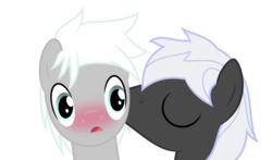 Size: 1280x753 | Tagged: safe, artist:toughbluff, oc, oc only, oc:patience, oc:zephyr wing, blushing, gay, kissing, male, simple background, transparent background, vector