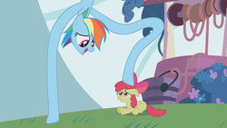 Size: 1280x720 | Tagged: safe, artist:dtkraus, edit, apple bloom, rainbow dash, long pony, stretch, stretching, wat, what has science done