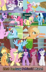 Size: 853x1333 | Tagged: safe, edit, edited screencap, screencap, applejack, fluttershy, gilda, opalescence, pinkie pie, rainbow dash, rarity, twilight sparkle, cat, earth pony, griffon, pegasus, pony, unicorn, applebuck season, feeling pinkie keen, griffon the brush off, read it and weep, sonic rainboom (episode), stare master, 21st century schizoid man, blue text, female, flutterrage, insanity, king crimson, mane six, mare, messy mane, pinkamena diane pie, progressive rock, snapplejack, song reference, tiredjack, twilight snapple