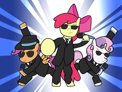 Size: 900x675 | Tagged: safe, artist:the-skullivan, apple bloom, scootaloo, sweetie belle, clothes, crossover, cutie mark crusaders, elite beat agents, microphone, rhythm game, suit, sunglasses