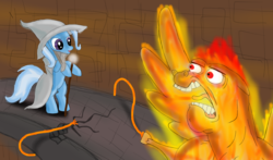 Size: 1280x752 | Tagged: safe, artist:wolver87, bulk biceps, roid rage, trixie, balrog, pony, beard, bipedal, fire, gandalf, glare, hoof hold, lord of the rings, magic, open mouth, scene parody, smirk, spread wings, staff, tongue out, wat