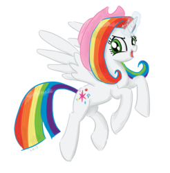 Size: 1000x1017 | Tagged: alicorn, alicorn oc, appleflaritwidashpie, applejack, artist:king-kakapo, elements of harmony, fluttershy, flying, fusion, i dont even, magic, mane six, oc, oc:harmony seraphine, open mouth, pinkie pie, pony, rainbow dash, rarity, safe, simple background, solo, spread wings, this is my final form, this isn't even my final form, twilight sparkle, twilight sparkle (alicorn), we have become one, what has magic done, what has science done, wide eyes