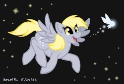 Size: 2304x1570 | Tagged: artist:thegreendragongirl, crossover, derpy hooves, female, flying, happy, mare, navi, pegasus, pony, safe, solo, the legend of zelda