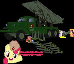 Size: 3000x2574 | Tagged: safe, artist:mercenario1945, apple bloom, babs seed, scootaloo, sweetie belle, katyusha, military, spanish, vehicle