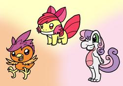 Size: 900x630 | Tagged: safe, artist:dragonwolfrooke, apple bloom, scootaloo, sweetie belle, mudkip, torchic, treecko, cutie mark crusaders, pokémon, scootachicken