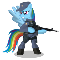Size: 900x900 | Tagged: safe, artist:dolphinfox, rainbow dash, pegasus, pony, ar15, assault rifle, bipedal, boots, female, gun, handgun, hat, mare, pistol, police, police uniform, rifle, shoes, simple background, solo, swat, transparent background, weapon