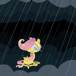 Size: 600x600 | Tagged: safe, artist:hamigaki-momo, fluttershy, cloud, cloudy, filly, rain, solo