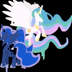 Size: 1898x1894 | Tagged: safe, artist:zvn, princess celestia, princess luna, alicorn, pony, cutie mark, female, hooves, horn, jewelry, lineless, mare, minimalist, modern art, regalia, simple background, spread wings, tiara, transparent background, wings