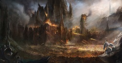 Size: 1600x830 | Tagged: dead source, safe, artist:fedte, princess celestia, castle, catapult, detailed, epic, fire, scenery, scenery porn, war