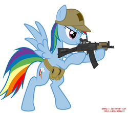 Size: 2879x2545 | Tagged: safe, artist:orang111, rainbow dash, pegasus, pony, aiming, ak-47, aks-74u, assault rifle, belt, bipedal, glare, gun, hat, operator, picatinny rail, rifle, smiling, solo, spread wings, standing, tactical school, weapon