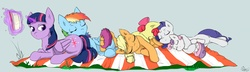 Size: 5400x1560   Tagged: safe, artist:captainpudgemuffin, apple bloom, applejack, rainbow dash, rarity, scootaloo, sweetie belle, twilight sparkle, alicorn, pony, blanket, butt pillow, cuddle puddle, cuddling, cutie mark crusaders, female, hug, line-up, magic, mare, picnic, pony pile, reading, sleeping, snuggling, twilight sparkle (alicorn)