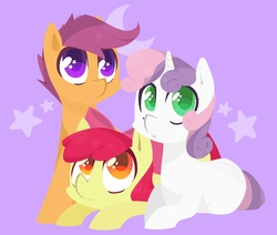 Size: 1138x967 | Tagged: safe, artist:foxda, apple bloom, scootaloo, sweetie belle, earth pony, pegasus, pony, unicorn, blank flank, bow, colored pupils, cutie mark crusaders, female, filly, foal, group, hair bow, heart eyes, lineless, looking at something, looking up, prone, purple background, simple background, smiling, starry eyes, stars, surprised, trio, wingding eyes