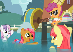 Size: 1560x1110 | Tagged: safe, artist:niggerfaggot, apple bloom, babs seed, scootaloo, sweetie belle, clothes, cutie mark crusaders, fake screencap, fence, i can't believe it's not hasbro studios, lake, one-piece swimsuit, pier, sandals, sunglasses, swimming, swimsuit, water, water wheel, wet mane, whistle