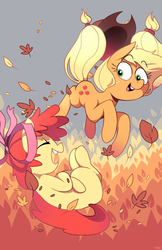Size: 640x989   Tagged: safe, artist:karzahnii, apple bloom, applejack, earth pony, pony, adorabloom, autumn, blank flank, cute, duo, eyes closed, female, filly, jackabetes, leaf, leaves, mare, open mouth, ribbon, sisters