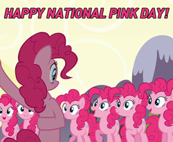 Size: 597x491   Tagged: safe, edit, edited screencap, screencap, pinkie pie, earth pony, pony, official, too many pinkie pies, bipedal, clone, cropped, female, mare, multeity, national pink day, pink text, pinkie clone, too much pink energy is dangerous
