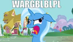 Size: 1024x600 | Tagged: safe, trixie, pony, unicorn, derp, female, image macro, mare, meme, solo, wheels trixie