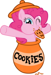 Size: 4790x7097 | Tagged: safe, artist:filpapersoul, pinkie pie, absurd resolution, cookie, cookie jar, cookie jar pony, cute, diapinkes, eating, female, food, looking at you, nom, nose wrinkle, one eye closed, puffy cheeks, simple background, solo, transparent background, vector, wink