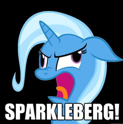 Size: 613x620 | Tagged: safe, edit, trixie, bust, derp, dinkleberg, image macro, meme, nose wrinkle, open mouth, portrait, simple background, wheels trixie