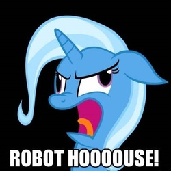 Size: 400x400 | Tagged: safe, artist:navitaserussirus, edit, trixie, pony, unicorn, black background, dean vernon, derp, faic, female, floppy ears, futurama, image macro, mare, mars university, meme, robot house, simple background, solo, text, trixie yells at everything, vector, wheels trixie