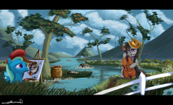 Size: 1008x612 | Tagged: safe, artist:auroriia, octavia melody, trixie, beret, cello, cowboy hat, g cleft, hat, mountain, musical instrument, paintbrush, painting, river, scenery, tree, water, wet mane