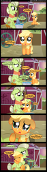 Size: 1000x3600 | Tagged: safe, artist:coltsteelstallion, applejack, granny smith, applejack's parents, barn, comic, crying, cute, duo, duo female, farm, feels, female, filly, filly applejack, hug, implied bright mac, implied brightbutter, implied death, implied pear butter, jackabetes, plot, sad, sweet apple acres, tower of pimps, young granny smith, younger