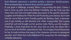 Size: 490x279 | Tagged: safe, fluttershy, pinkie pie, rainbow dash, rarity, elements of harmony, generosity, guidebook, inspiration, kindness, laughing, lauren faust, loyalty, official, text, word of faust