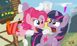 Size: 854x512 | Tagged: artist:reformational, cottage, exclamation point, letter, mailbox, pinkie pie, ponyville, safe, surprised, twilight sparkle, unicorn, unicorn twilight