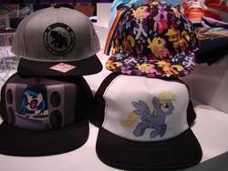 Size: 1024x768 | Tagged: safe, applejack, derpy hooves, dj pon-3, fluttershy, rainbow dash, rarity, twilight sparkle, vinyl scratch, pegasus, pony, official, baseball cap, female, hat, irl, mare, merchandise, photo, speakers, turntable