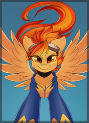 Size: 910x1260 | Tagged: safe, artist:spittfireart, spitfire, pegasus, pony, clothes, female, fire, goggles, looking at you, mare, sexy, smiling, solo, wonderbolts, wonderbolts uniform