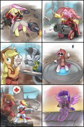 Size: 1400x2100   Tagged: safe, artist:stupjam, applejack, big macintosh, fluttershy, pinkie pie, rainbow dash, rarity, twilight sparkle, zecora, alicorn, earth pony, pegasus, pony, unicorn, zebra, magical mystery cure, bandage, bipedal, cannon, comic, crossbow, crossover, engiejack, engineer, female, fluttermedic, gun, heavy, hooves, horn, knife, liarjack, machine gun, male, mane six, mare, medic, open mouth, optical sight, paper-thin disguise, party cannon, pinkamena diane pie, pinkie pyro, rainbow scout, rarispy, rifle, rocket, roof, rubber chicken, scout, scrunchy face, sentry, sniper, sniper rifle, stallion, sunglasses, sword, team fortress 2, teeth, tongue out, twilight snapple, twilight sniper, twilight sparkle (alicorn), weapon, wings