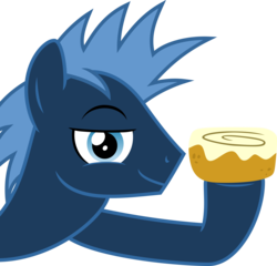 Size: 5214x5000 | Tagged: safe, artist:abion47, artist:chainchomp2, star hunter, pegasus, pony, absurd resolution, cinnamon bun, food, male, simple background, solo, stallion, transparent background, vector