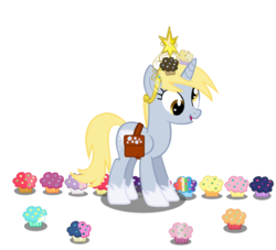 Size: 2200x2000 | Tagged: dead source, safe, artist:jonathanmdful, apple bloom, applejack, babs seed, big macintosh, bon bon, cheerilee, derpy hooves, dinky hooves, doctor whooves, fluttershy, lyra heartstrings, pinkie pie, rainbow dash, rarity, scootaloo, sweetie belle, sweetie drops, time turner, twilight sparkle, alicorn, pony, alicornified, big crown thingy, derpicorn, female, hoof shoes, jewelry, mare, muffin, objectification, open mouth, princess derpy, race swap, regalia, saddle bag, simple background, smiling, solo, transparent background, twilight sparkle (alicorn)