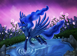 Size: 4359x3167   Tagged: safe, artist:pridark, princess luna, alicorn, absurd resolution, aurora borealis, beautiful, blue eyes, crown, ethereal mane, female, flower, happy, hoof shoes, horn, jewelry, open mouth, regalia, rock, scenery, smiling, solo, spread wings, stars, water, wings
