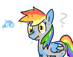 Size: 641x500 | Tagged: safe, artist:eclairsito, derpy hooves, rainbow dash, pegasus, pony, female, mare, melting, paint, paint in hair, paint on feathers, paint on fur, painting characters, pixiv, recolor, scrunchy face