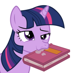 Size: 5982x6000 | Tagged: absurd res, artist:masem, berk, book, drool, equestria girls, equestria girls (movie), equestria girls ponified, face, faic, mouth hold, ponified, pony, safe, simple background, solo, that pony sure does love books, transparent background, twilight sparkle, vector