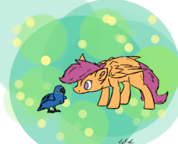 Size: 1300x1050 | Tagged: safe, artist:nos-talgia, scootaloo, bird, parrot, curious, fluffy, solo