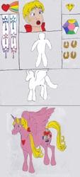 Size: 1002x2208   Tagged: safe, artist:zeldatheswordsman, alicorn, human, pony, donut steel, g1, golden horseshoes, heart of ponyland, human to pony, ponified, princess wands, rainbow of light, sunstone (g1 artifact), transformation