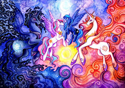 Size: 900x632 | Tagged: safe, artist:trollgirl, princess celestia, princess luna, oc, oc:king cosmos, oc:queen galaxia, alicorn, 's parents, alicorn oc, celestia and luna's father, celestia and luna's mother, father and daughter, female, galamos, male, moon, mother and daughter, parent, royal family, sun, surreal, traditional art, younger