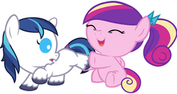 Size: 6000x3200 | Tagged: safe, artist:beavernator, edit, princess cadance, shining armor, pegasus, pony, my little pony chapter books, twilight sparkle and the crystal heart spell, absurd resolution, baby, baby cadance, baby pony, babying armor, beavernator is trying to murder us, colt, colt shining armor, cute, cutedance, female, filly, filly cadance, foal, male, pegasus cadance, ponytail, shining adorable, younger